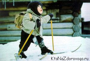 Ребенок зимой на лыжах