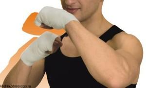 Намотанный на руки боксерский бинт